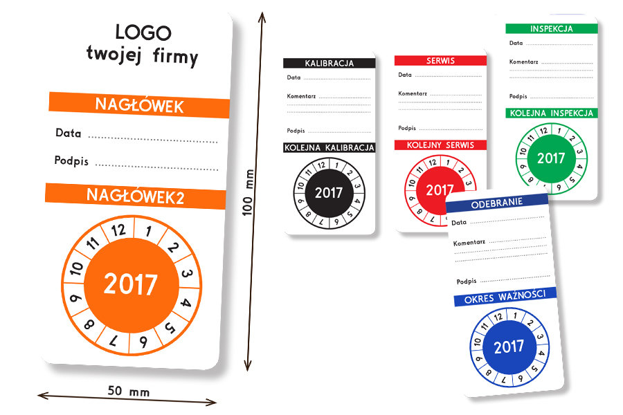 Naklejki i etykiety przeglądowe