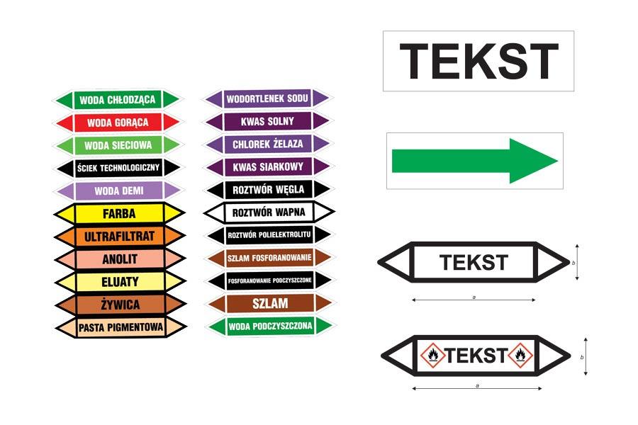 Etykiety samoprzylepne do znakowania rurociągów
